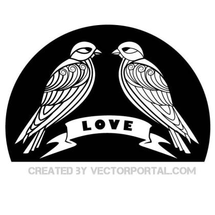 Love Birds Graphics Free Vector