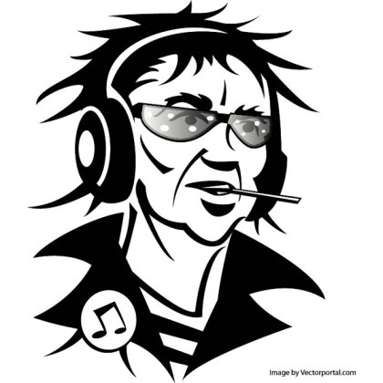 Man with Headphones and Cigarette Free Vector