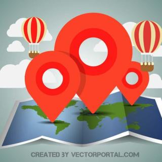 Map and Pins Concept Free Vector