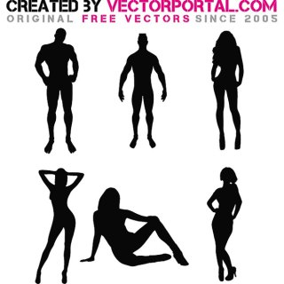 Men and Women Silhouette Free Vector