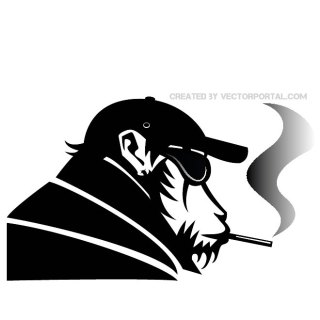 Monkey Smoking Free Vector