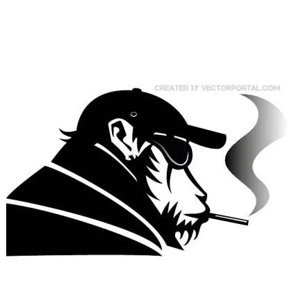 Monkey Smoking Free Vector
