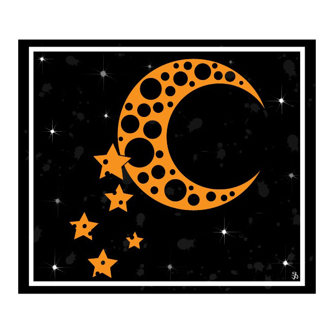 Moon and Stars Background Free Vector