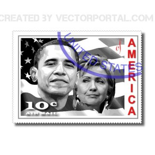 Obama & Clinton Stamp Free Vector