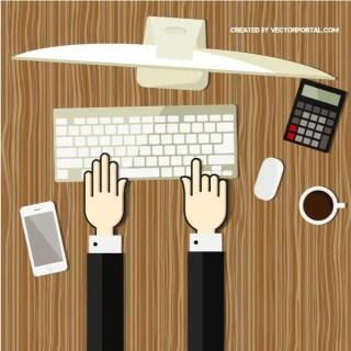 Office Work Illustration Free Vector