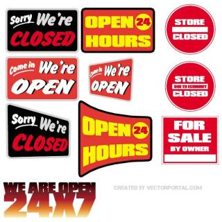 Open-Closed Stickers Free Vector