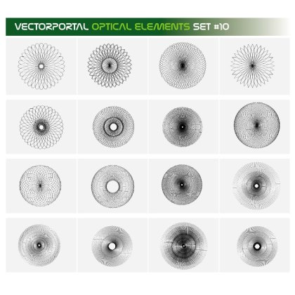Optical Guilloche Elements Set Free Vector