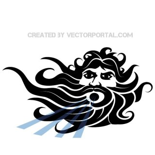 Poseidon God of Sea Free Vector