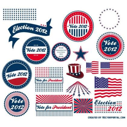 Presidential Election Stickers Free Vector