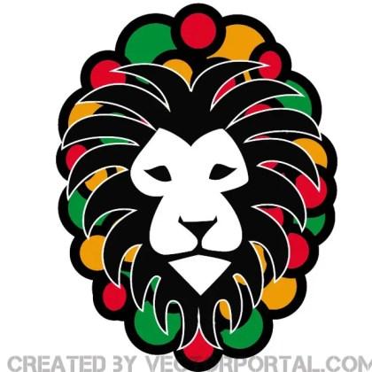 Rasta Lion Image Free Vector