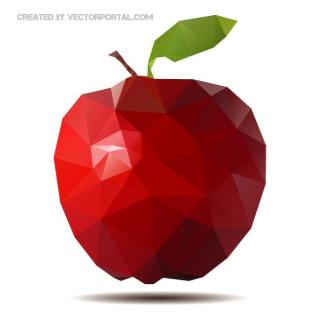 Red Apple Polygonal Free Vector