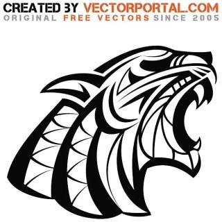 Roaring Wild Cat Free Vector