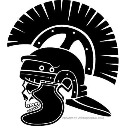 Roman Soldier Skull Free Vector