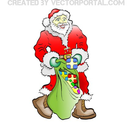 Santa Claus with Gift Bag Free Vector
