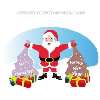 Santa Claus and Xmas Presents Free Vector