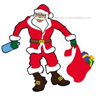 Santa Claus Drunk Free Vector