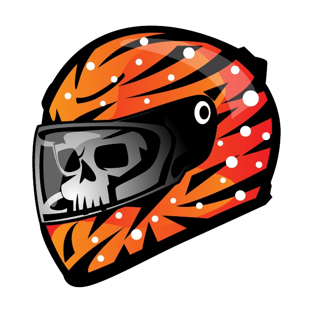 Skull in Racing Helmet Free Vector