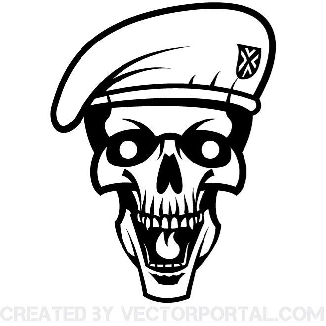 Skull with Beret Image Free Vector