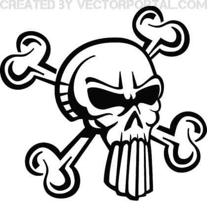 Skull with Big Teeth Free Vector