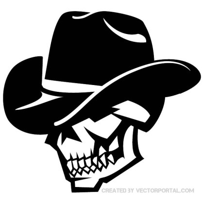Skull with Black Hat Free Vector
