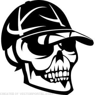 Skull with Cap Image Free Vector