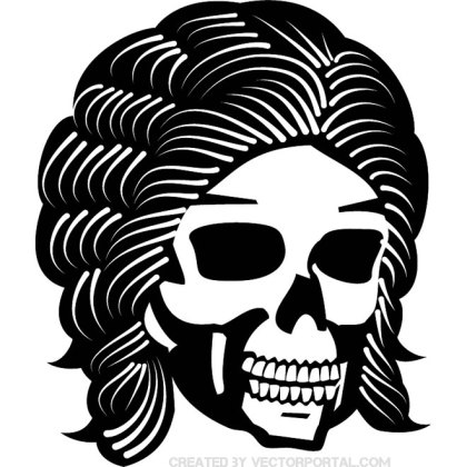 Skull with Cool Hair Free Vector