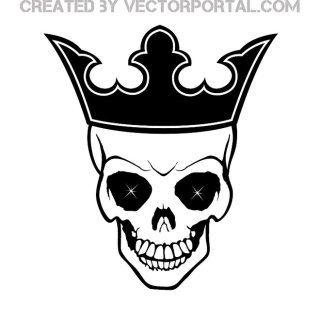 Skull with Crown Free Vector