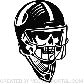 Skull with Football Helmet Free Vector