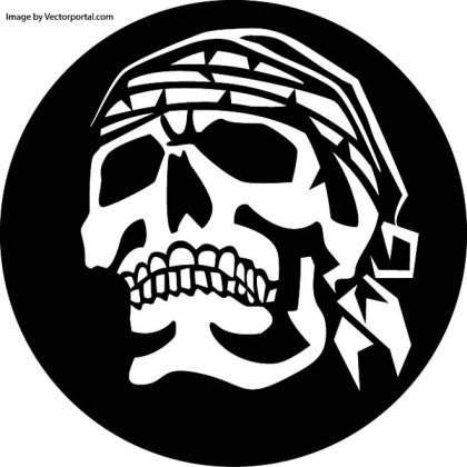 Skull with Head Scarf Free Vector