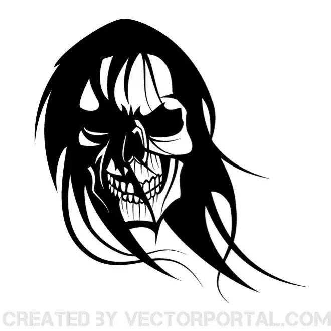 Skull with Long Black Hair Free Vector