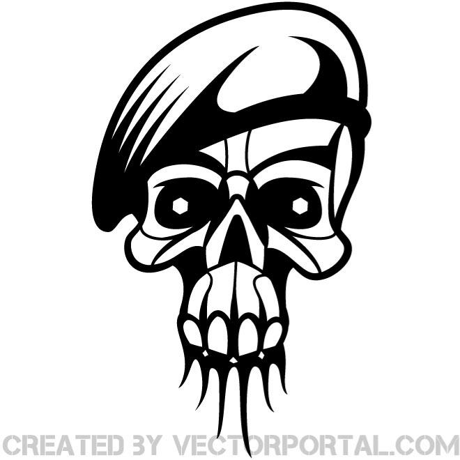 Skull with Military Cap Free Vector