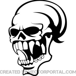 Skull with Scary Teeth Image Free Vector