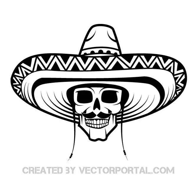 Skull with Sombrero Free Vector