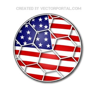 Soccer Ball with Us Flag Free Vector