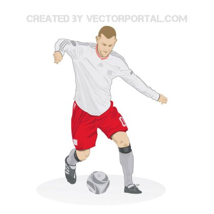 Soccer Player with The Ball Free Vector