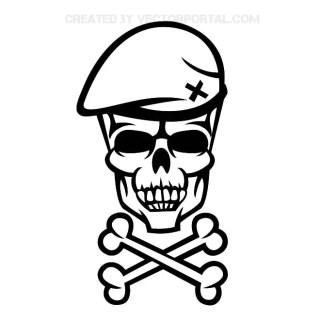 Soldier Skull Illustration Free Vector