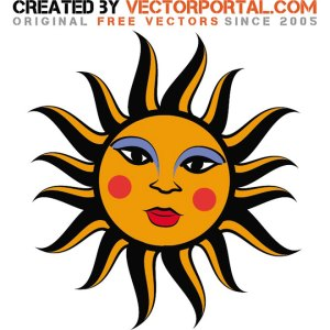 Sun Layout Free Vector