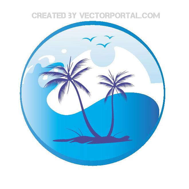 Sun Palm Trees Free Vector