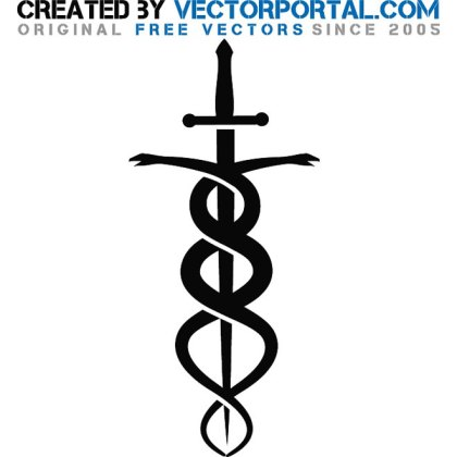 Sword and Snake Art Free Vector