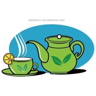 Teapot and A Cup Graphics Free Vector