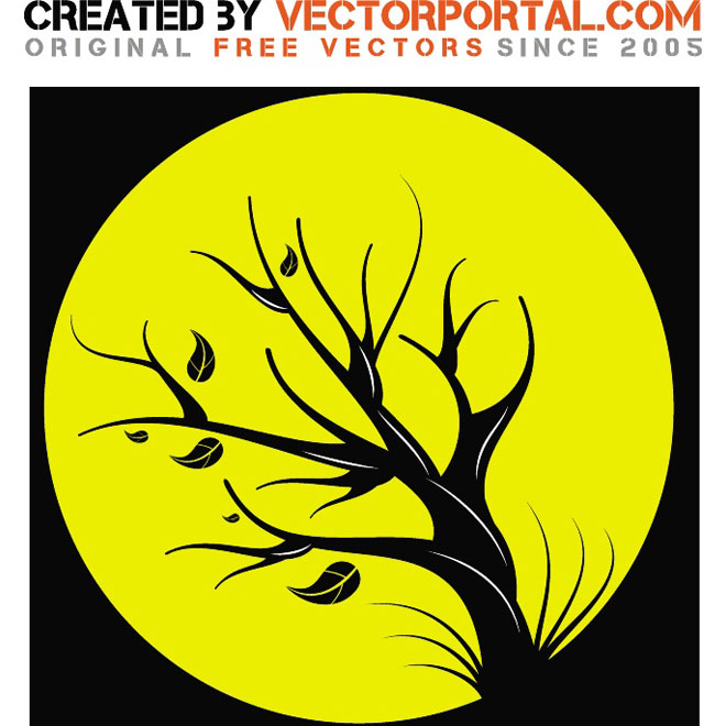 Tree in The Full Moon Free Vector