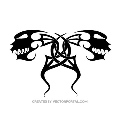 Tribal 2-Headed Monster Free Vector