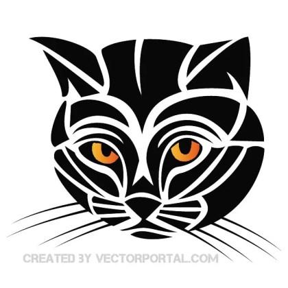 Tribal Cat Clip Art Free Vector