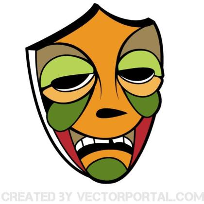 Tribal Colored Mask Free Vector