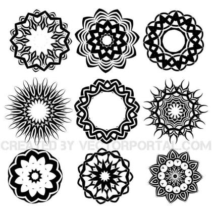 Tribal Tattoo Shapes Pack Free Vector