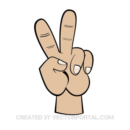 V Sign Clipart Free Vector
