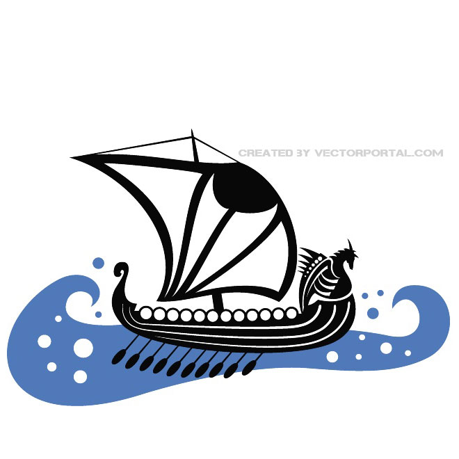 Viking Boat on Blue Sea Free Vector