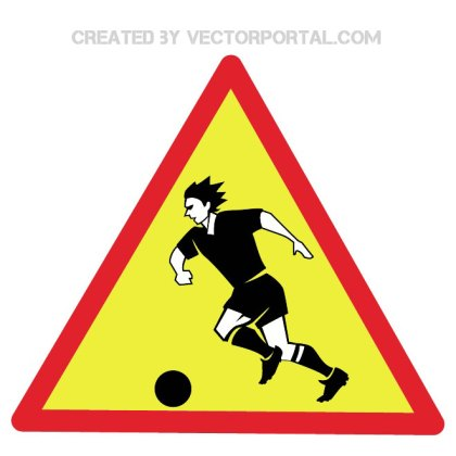 Warning Watching Football Sign Free Vector