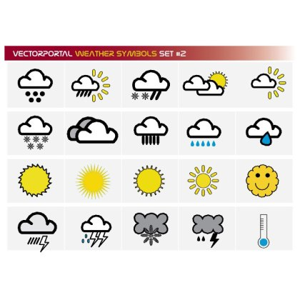 Weather Symbols Free Set Free Vector