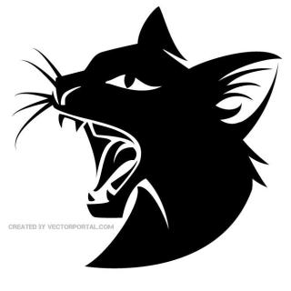 Wild Black Cat Image Free Vector